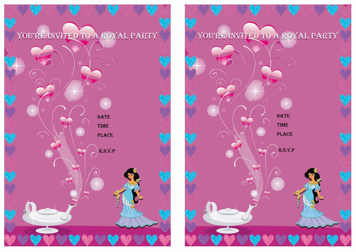 Princess Jasmine Birthday Invitations