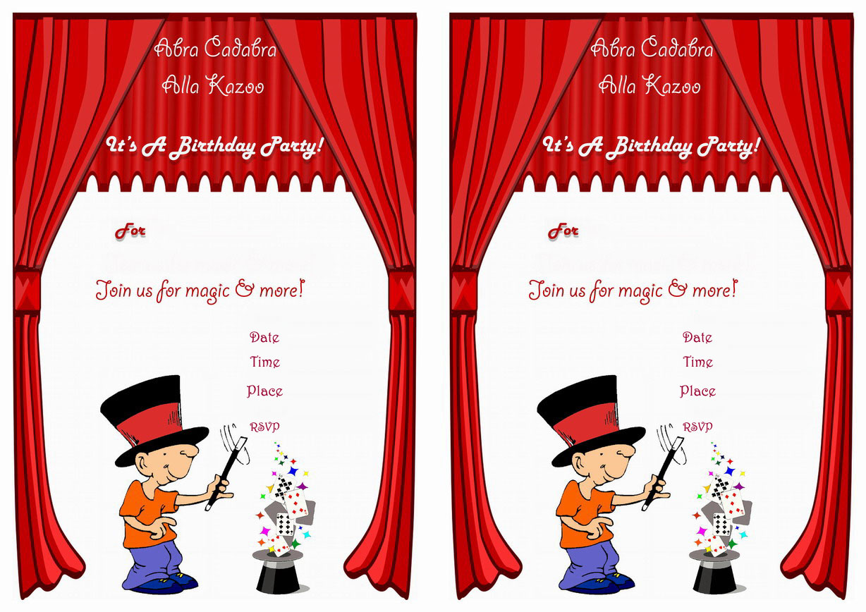 Magic Birthday Invitations – Birthday Printable