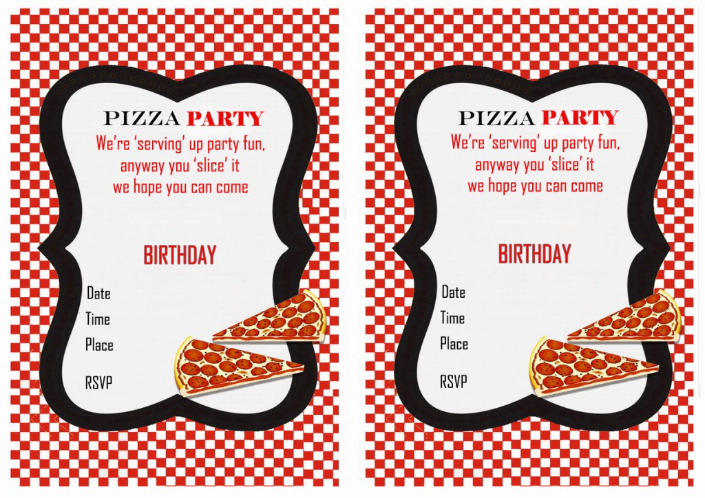Pizza Birthday Invitations Birthday