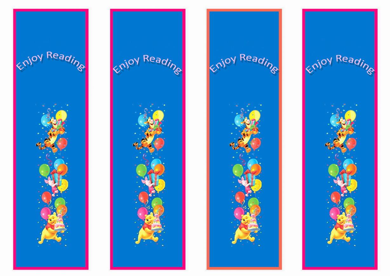 Winnie The Pooh Bookmarks Birthday Printable