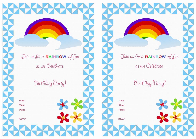 Rainbow Birthday Invitations – Birthday Printable