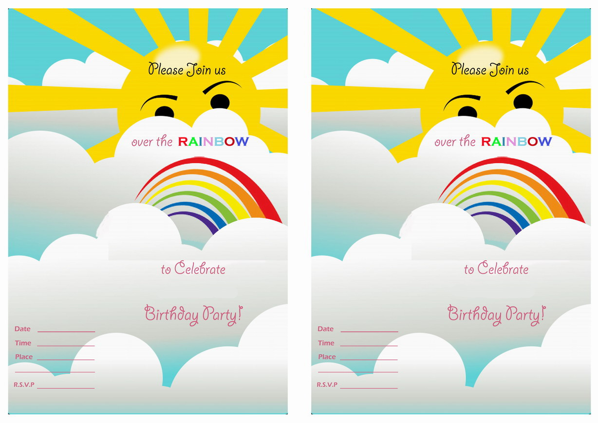 Rainbow Birthday Invitations gangcraftnet