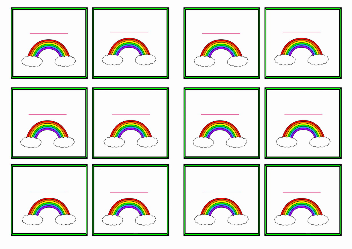 Rainbow Name Tags Birthday Printable - Door name tags templates