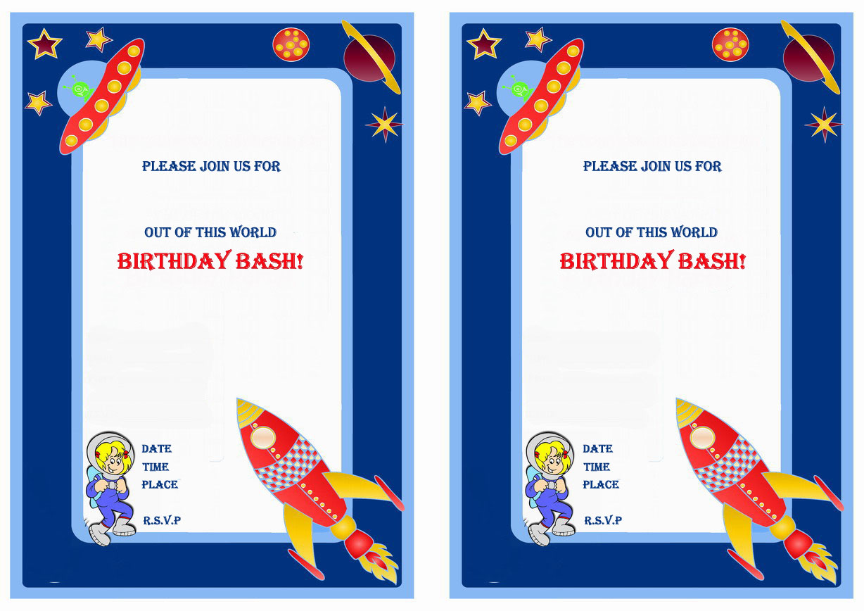 Space Birthday Printable Invitations Click Image Below To Enlarge And Print