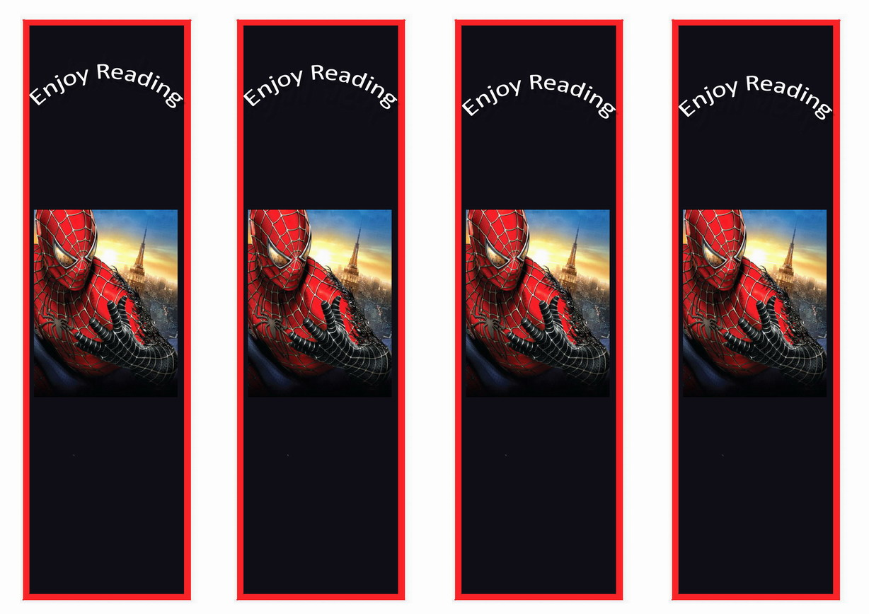 Spiderman Bookmarks Birthday Printable