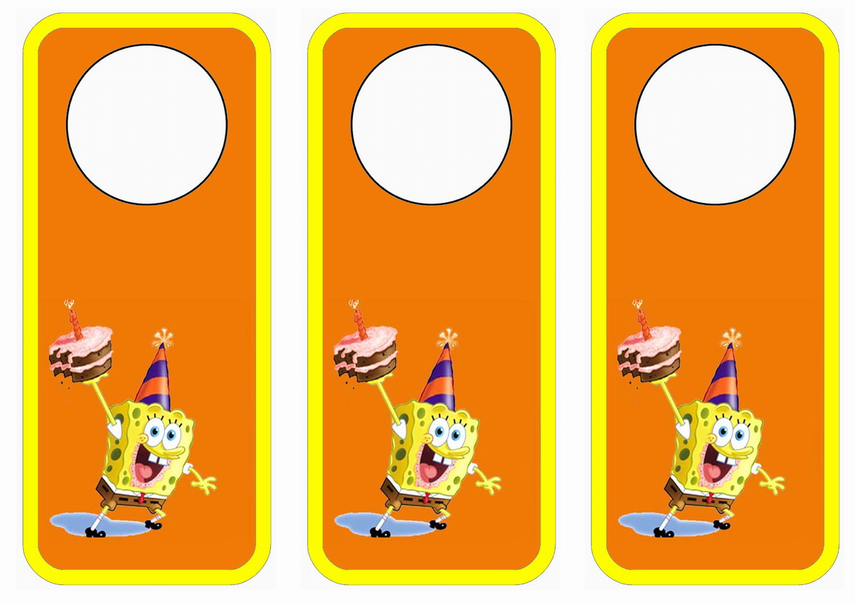 Spongebob Door Hangers Birthday