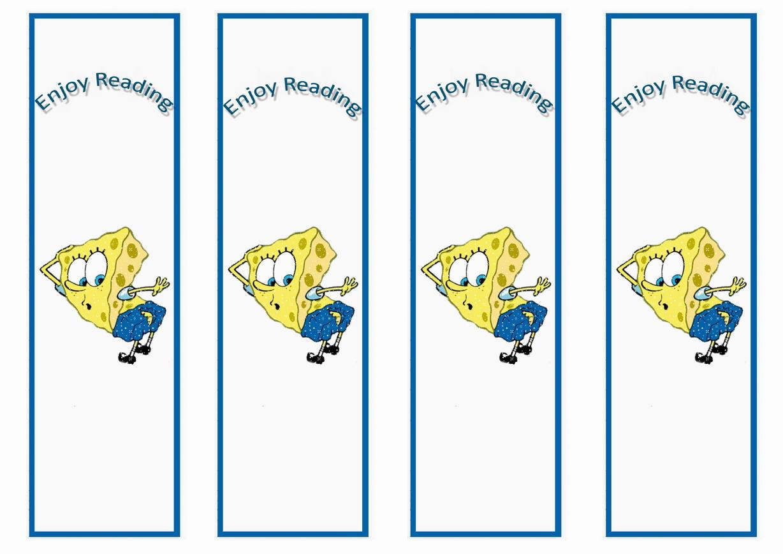 spongebob bookmarks u2013 birthday printable