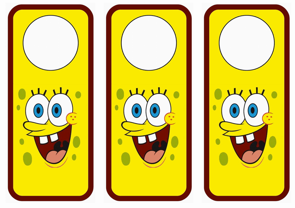 photo regarding Spongebob Printable named Spongebob Doorway Hangers Birthday Printable