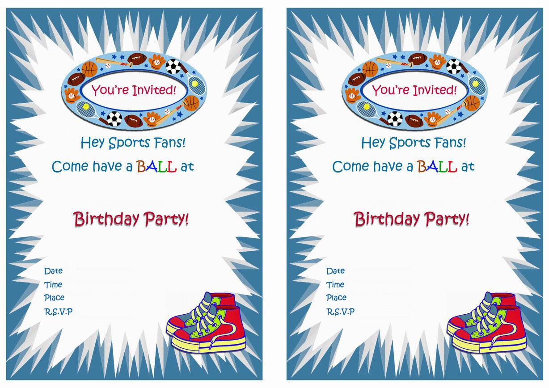 Sports Birthday Invitations – Birthday Printable