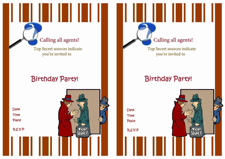 Spy Birthday Invitations – Birthday Printable