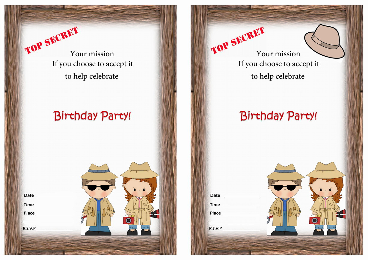 Vibrant image for spy party invitations printable free