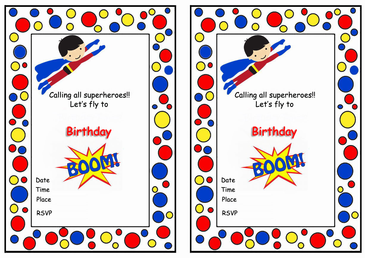 Superman Birthday Printable Invitations Click Image Below To Enlarge And Print
