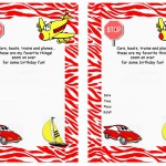Transportation Birthday Invitations