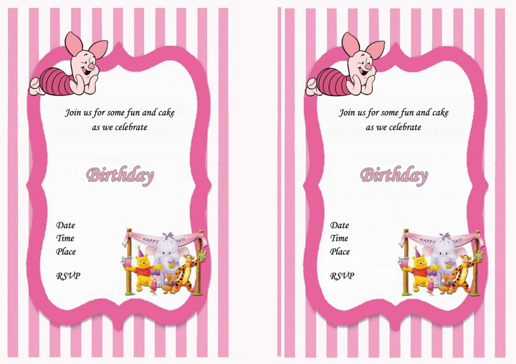 Winnie The Pooh Birthday Invitations Birthday Printable