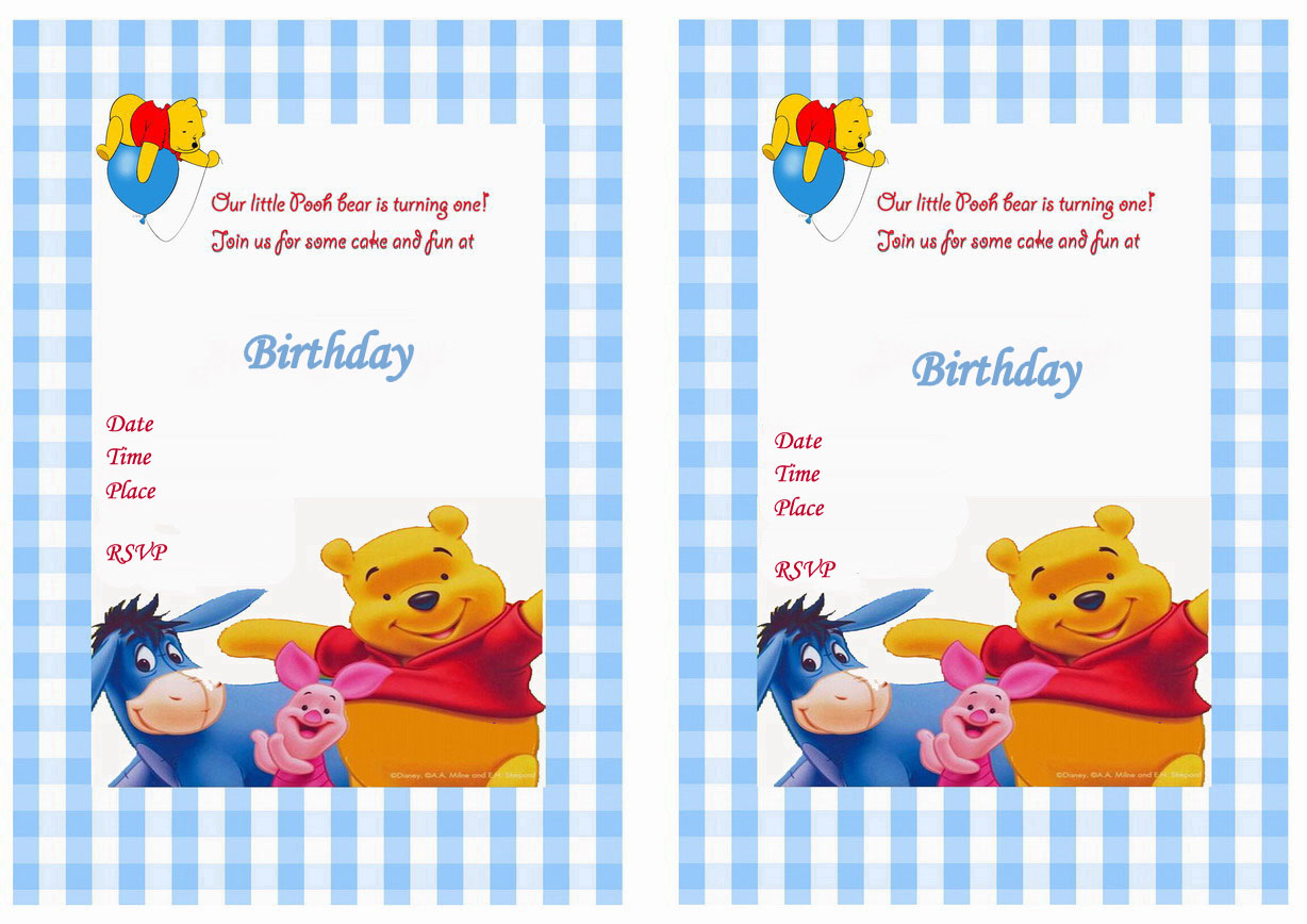 Winnie the Pooh Birthday Invitations – Birthday Printable