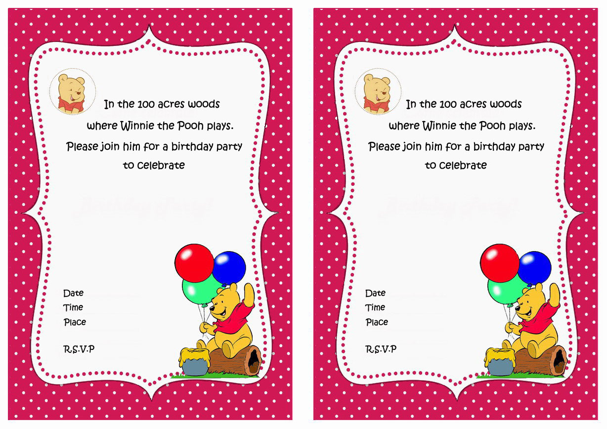 winnie the pooh birthday invitations  birthday printable, Birthday card