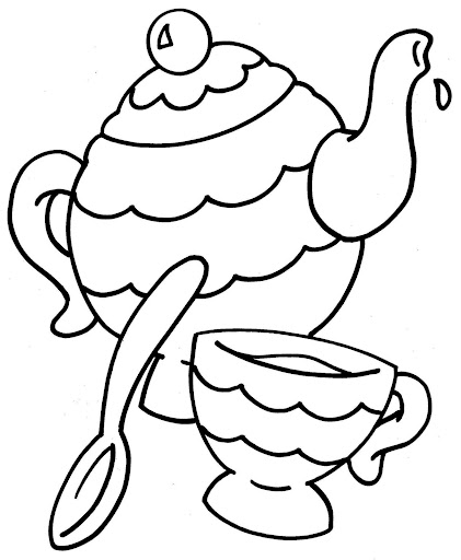tea party coloring pages - Princess Tea Party Coloring Pages