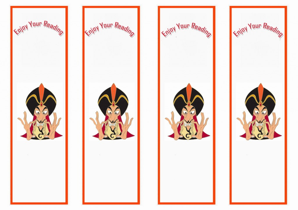 Princess Jasmine Bookmarks Birthday Printable