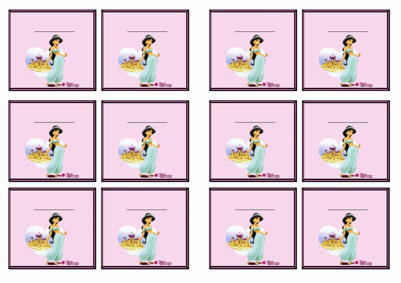 Princess Jasmine Name Tags – Birthday Printable