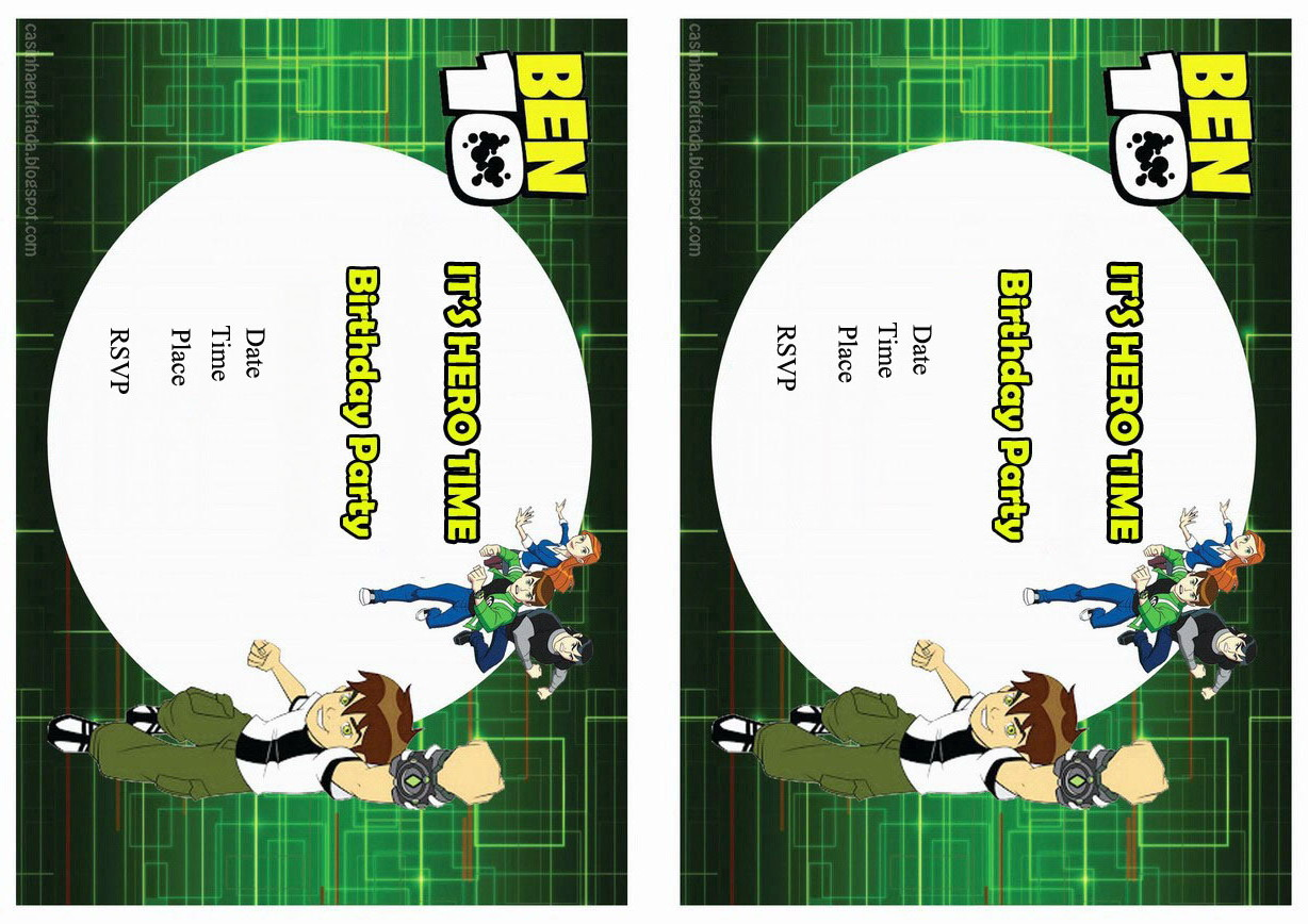 Ben 10 Birthday Invitations Birthday