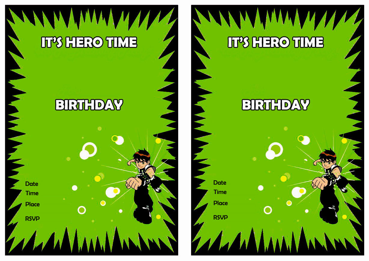 ben 10 birthday invitations