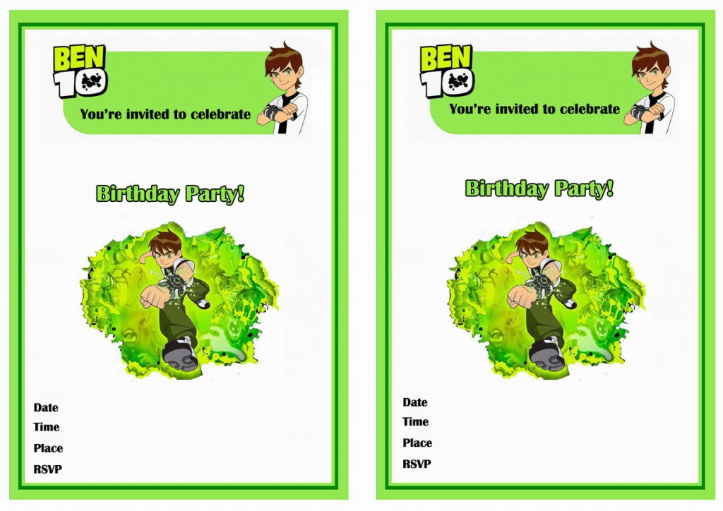 Ben 10 Birthday Invitations | Birthday Printable