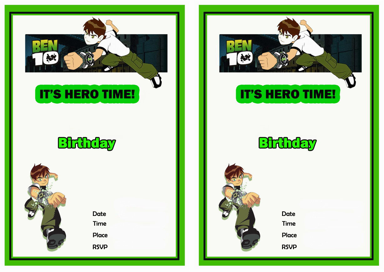 ben 10 birthday invitations birthday printable