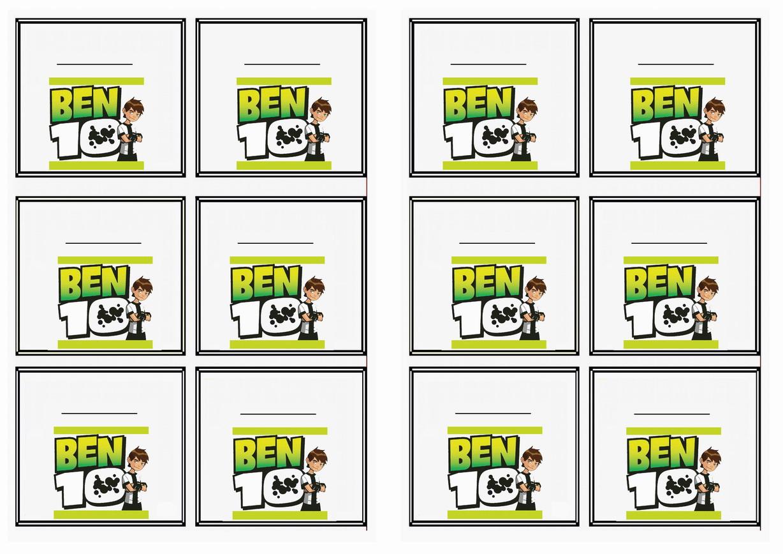 Ben 10 Name Tags – Birthday Printable