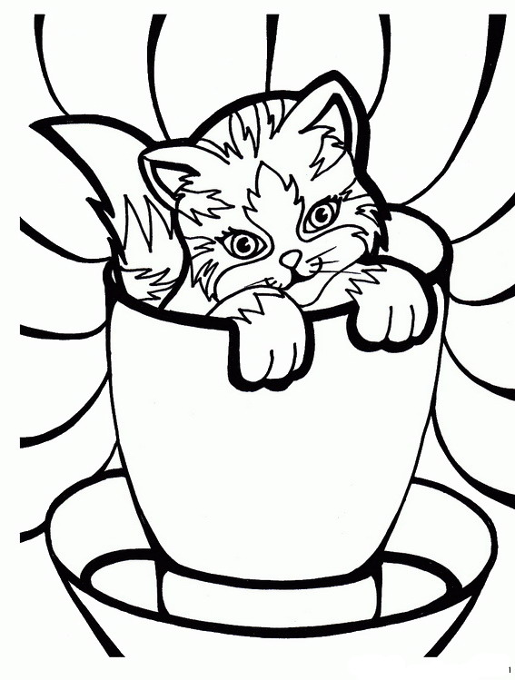 birthday cat coloring pages - photo#12