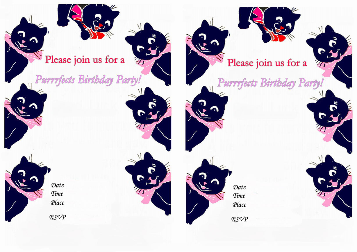Cat Lovers Birthday Invitations – Birthday Printable