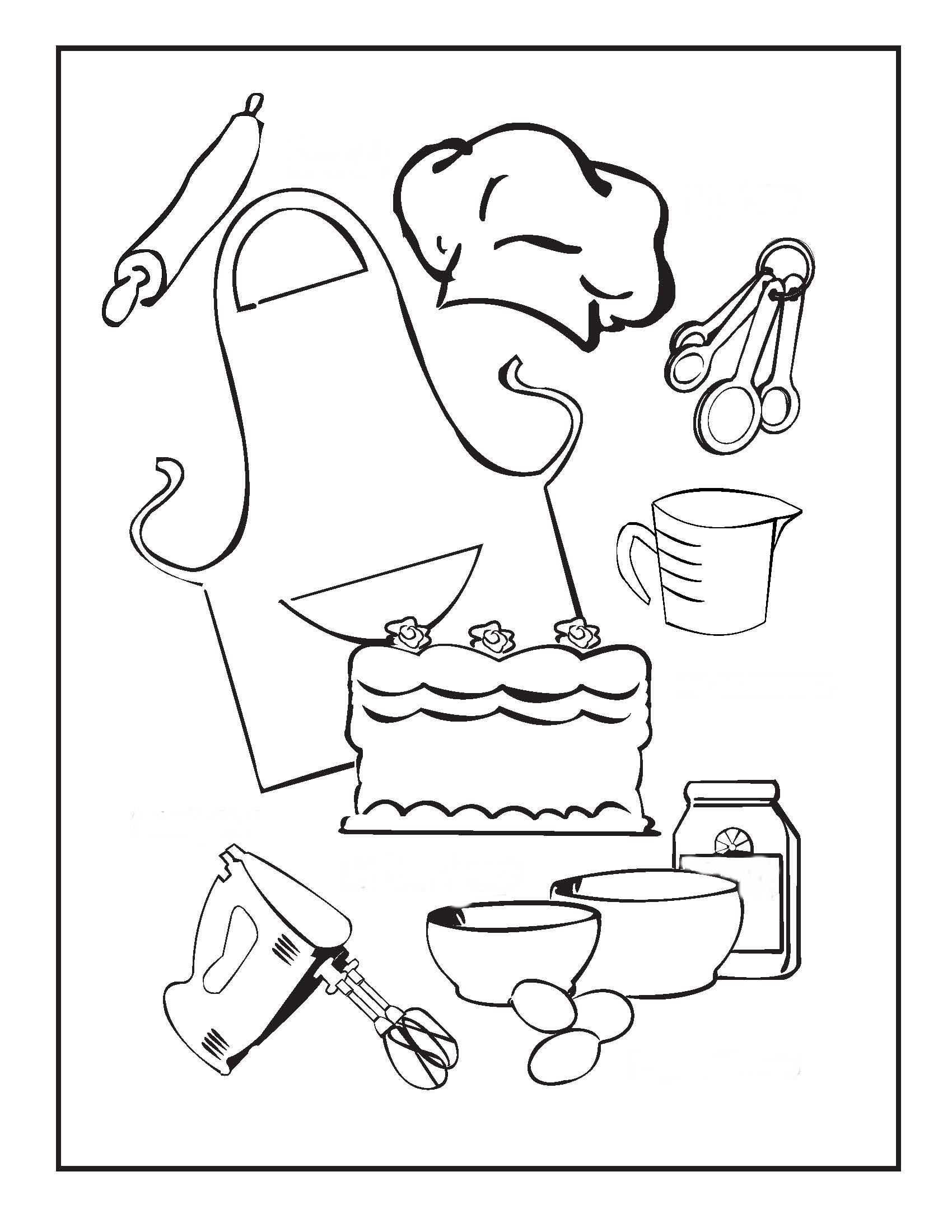 cooking and baking coloring pages u2013 birthday printable