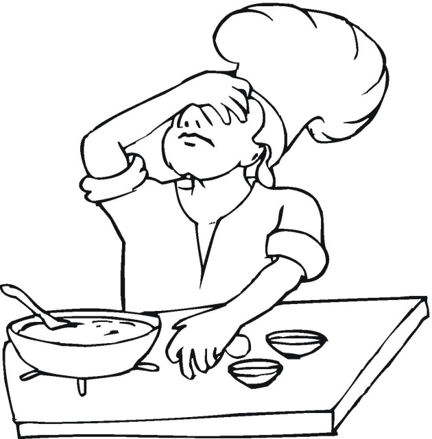 Cooking And Baking Coloring Pages Birthday Printable