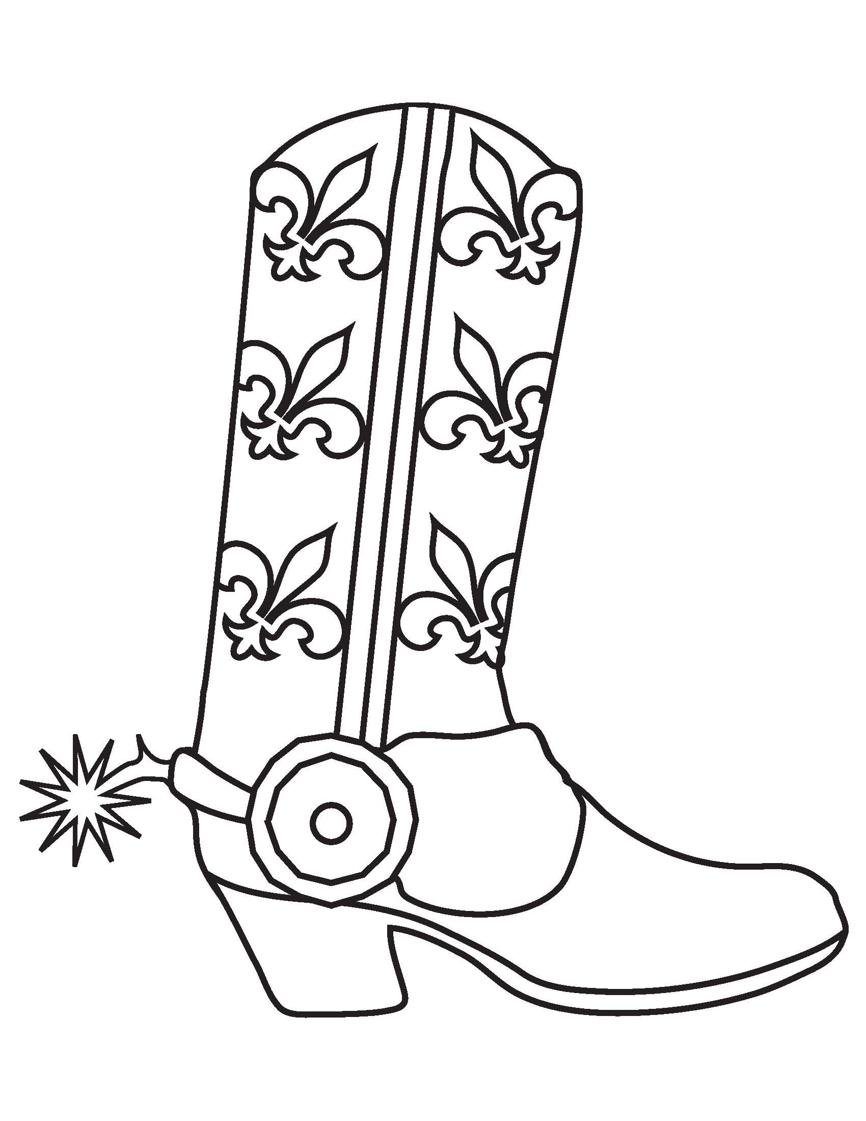 boot coloring page - western boots page coloring pages