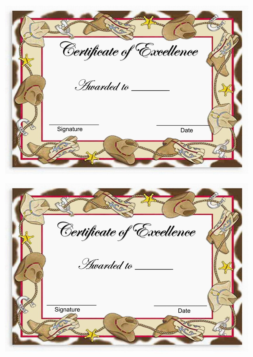 Cowboy Awards Birthday Printable