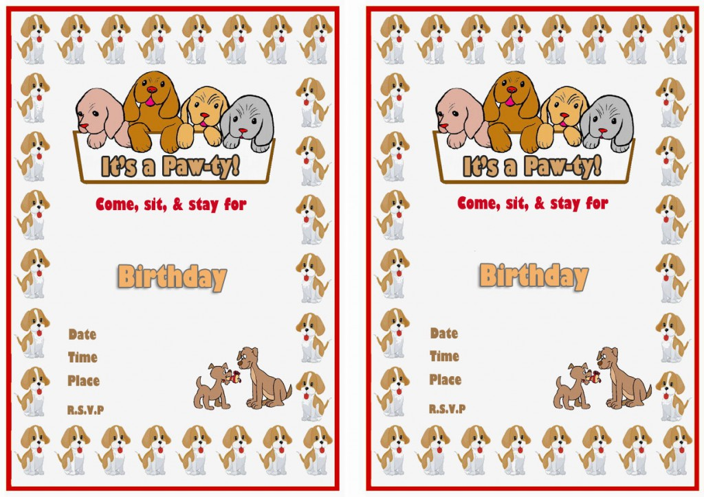 Dog Lovers Birthday Invitations Birthday Printable
