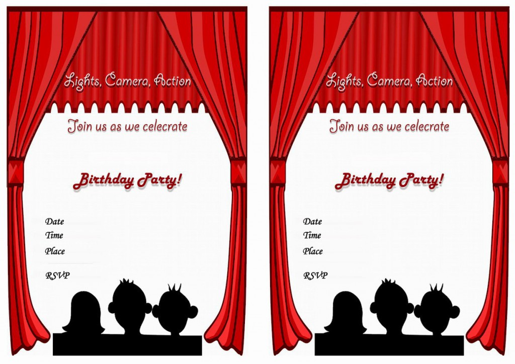 It is an image of Striking Movie Birthday Party Invitations Printable Free