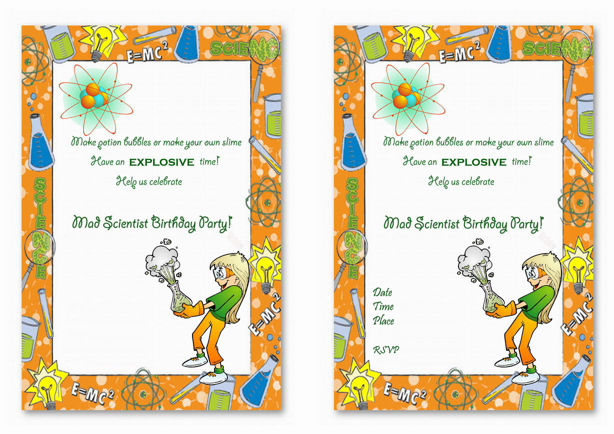 Science Birthday Invitations Birthday Printable