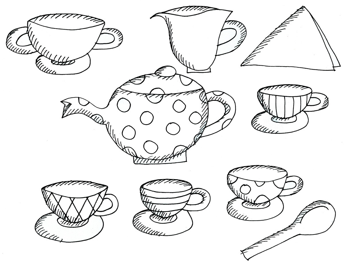 tea party coloring pages u2013 birthday printable