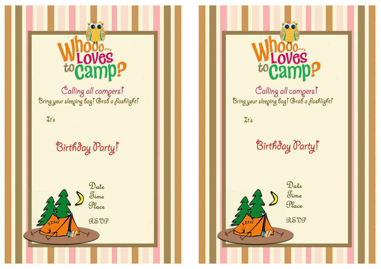 Camping Birthday Invitations