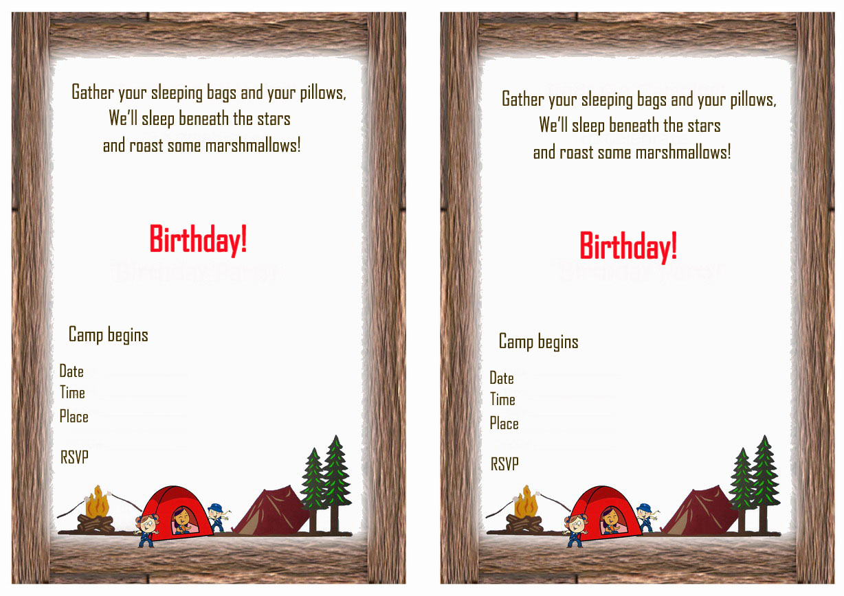 graphic relating to Free Printable Camping Birthday Party Invitations referred to as Tenting Birthday Invites Birthday Printable