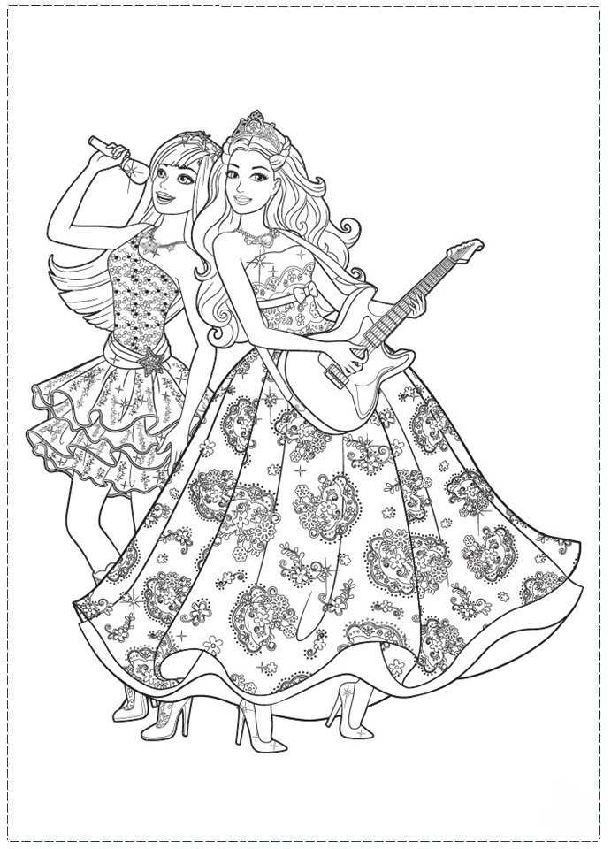 Coloring Pages Barbie Rockstar : Rock star coloring pages birthday printable