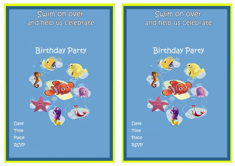 Finding Nemo Birthday Invitations Birthday Printable