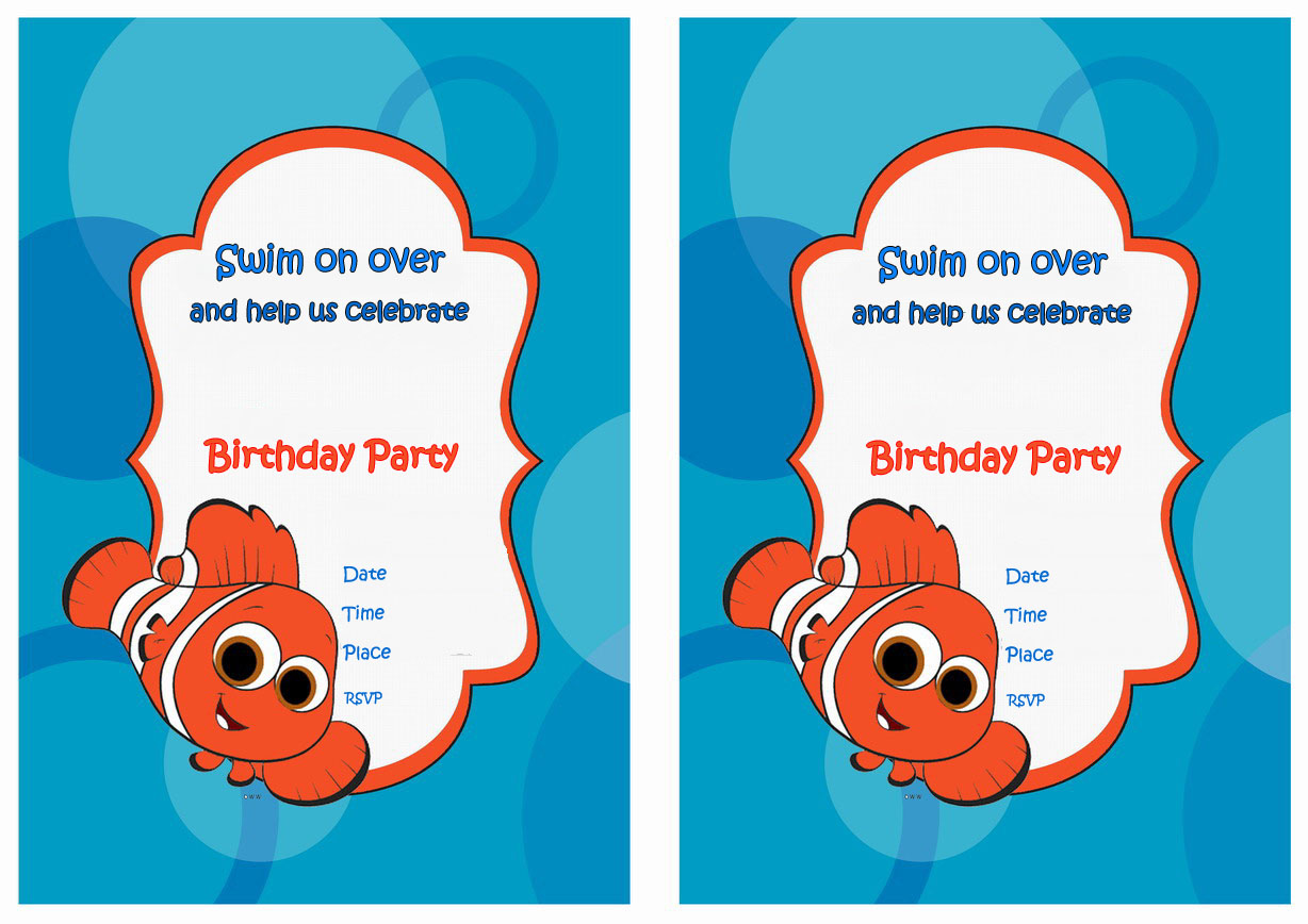 Finding Nemo Birthday Invitations Birthday Printable