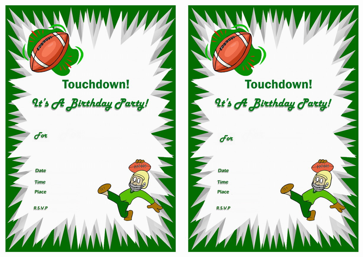 Football Birthday Invitations Birthday Printable