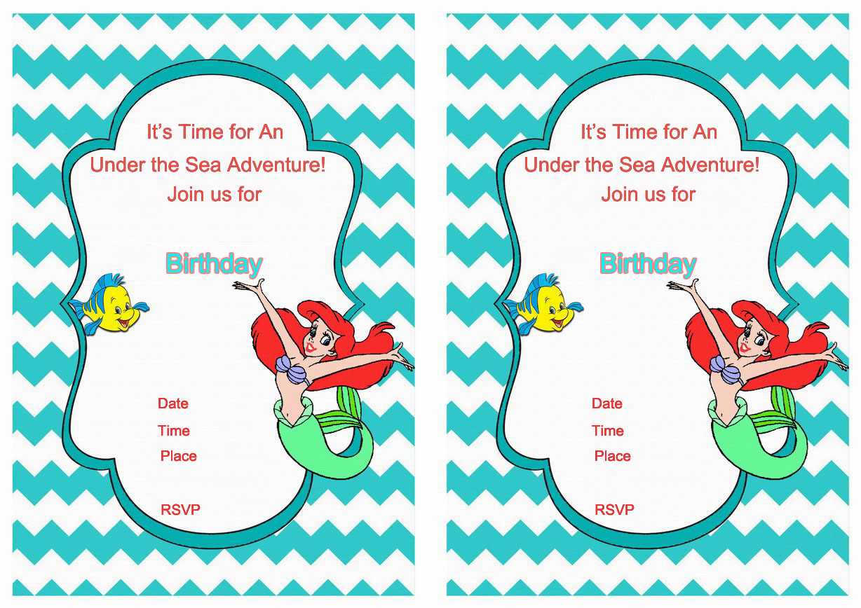 Little mermaid birthday invitations birthday printable little mermaid birthday printable invitations click image below to enlarge and print filmwisefo