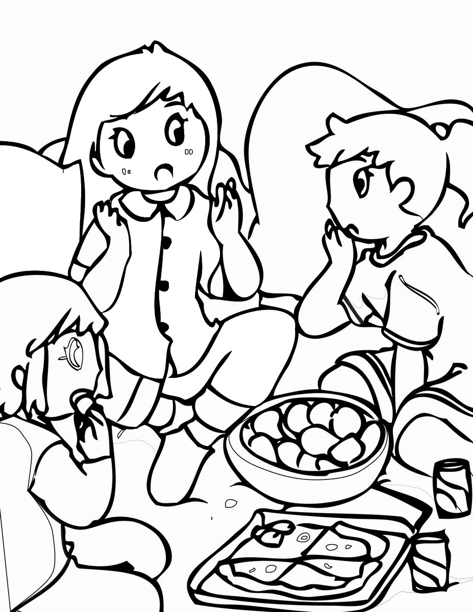 Sleepover Coloring Pages – Birthday Printable