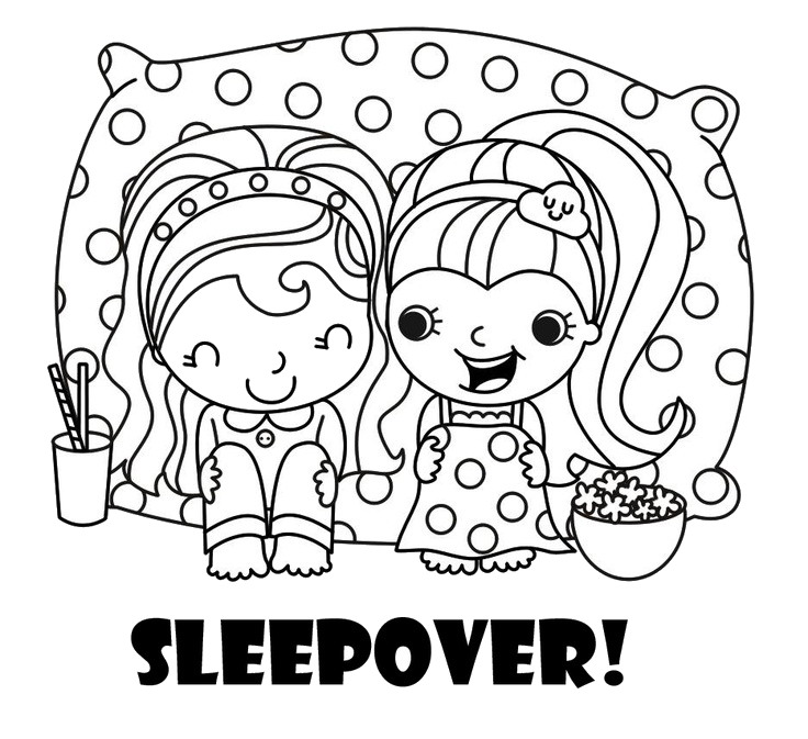 sleepover coloring pages to print   Sleepover Coloring Pages – Birthday Printable