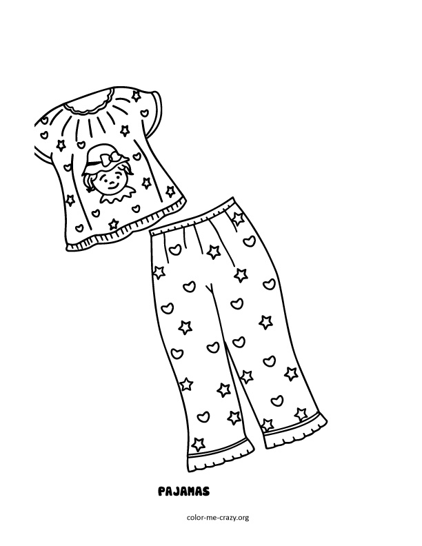 pajama theme coloring pages - photo#10