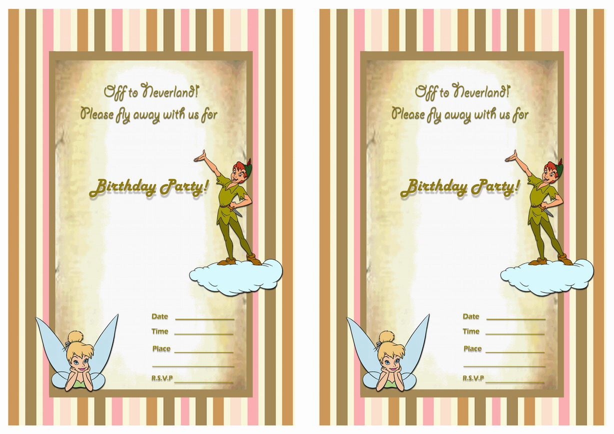 Peter Pan Birthday Invitations Birthday Printable