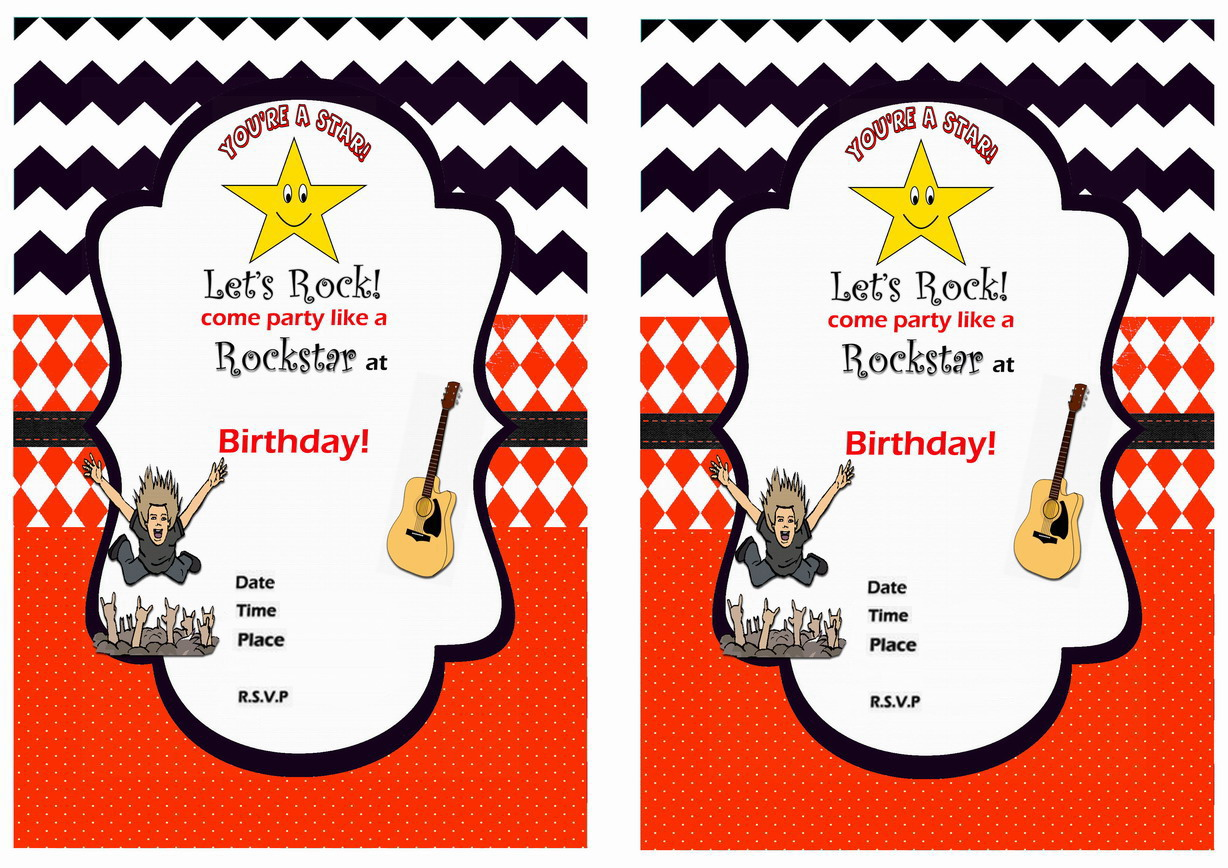 Rock Star Birthday Invitations – Birthday Printable
